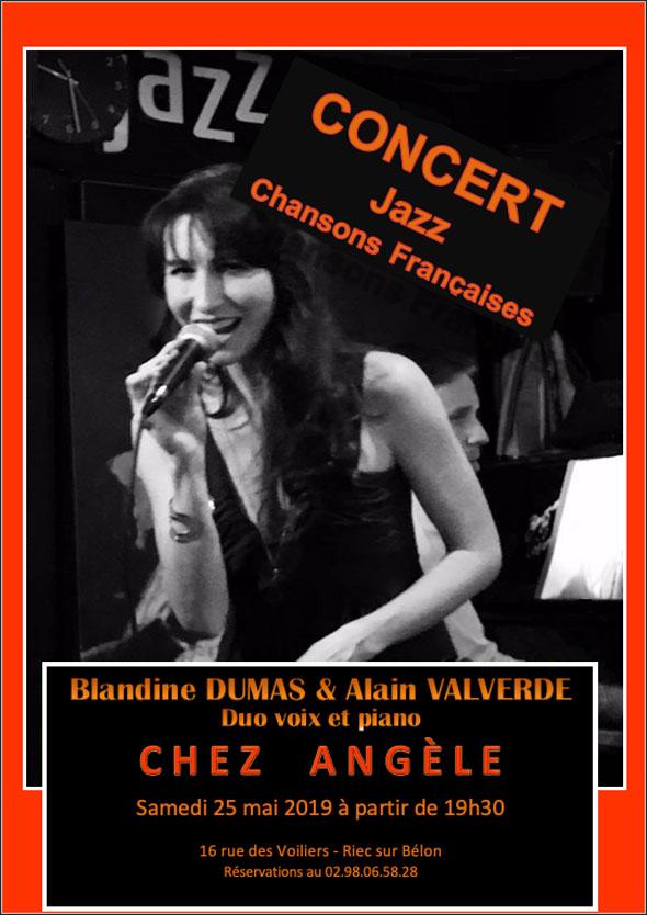 Concert Jazz Creperie Chez Angel Chanson Francaise Samedi 25 Mai 2019 19h30 Blandine Dumas Alain Valverde Duo Voix Piano